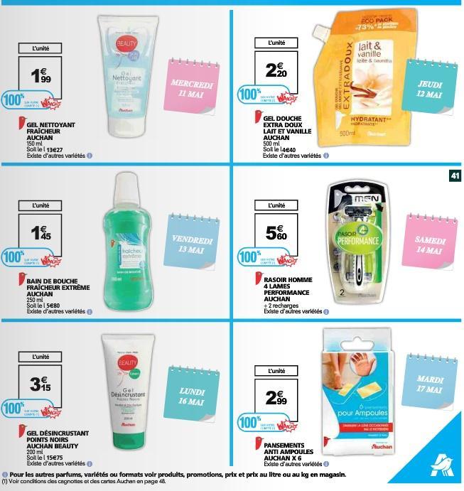 6 produits de beauté de marque Auchan gratuits - Ex: Gel Nettoyant Fraîcheur Auchan (via 1.99€ sur la carte Waaoh) gratuit