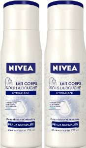 Lot de 2 Nivea Body Lait Corps Douche Hydratant 250 ml