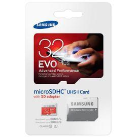 Carte microSDHC Samsung Evo Plus Class 10 - 32Go avec adaptateur
