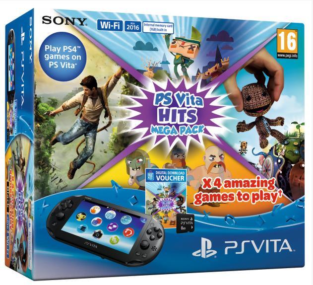 Pack console PS Vita (PCH-2016) + carte mémoire 8 Go + 4 jeux (dématérialisés)