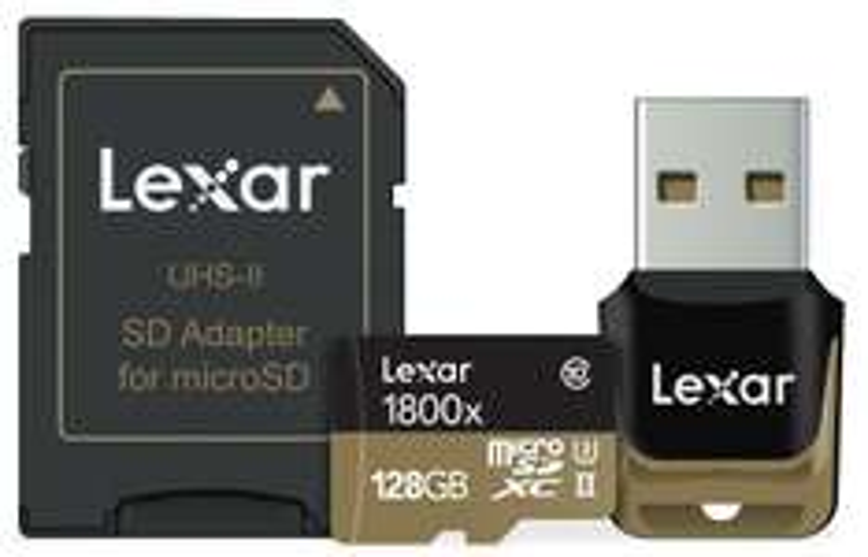 Carte MicroSDXC Lexar Professional 1800x Classe 10 UHS-II - 128 Go + adapateur USB et SD