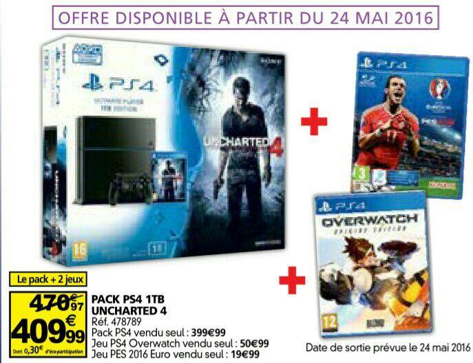 Pack Console PS4 1To Uncharted 4 + Overwatch + PES Euro 2016 en ligne et en magasin