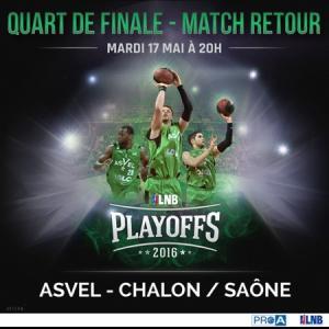 Place gratuite pour le match Asvel - Chalon 1/4 PlayOff du mardi 17 mai