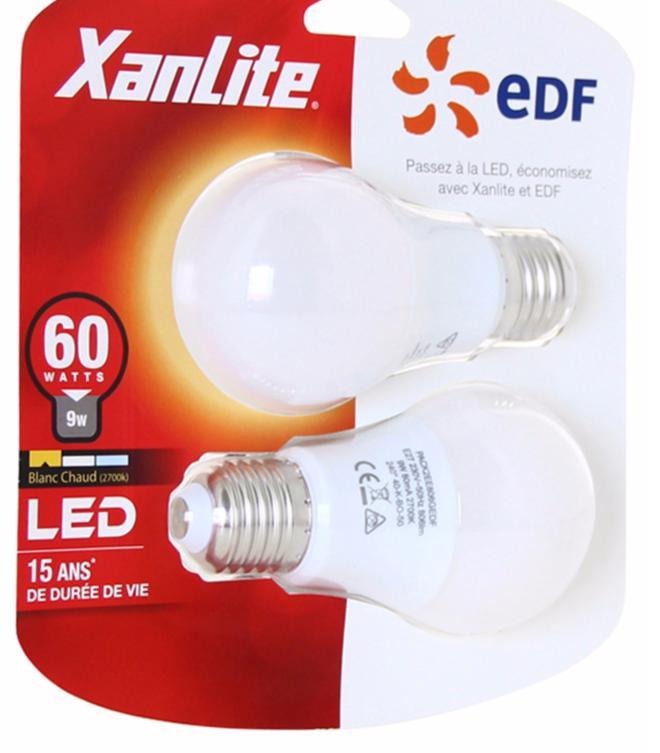 Sélection d'ampoules Xanlite en promo - Ex : Lot de 10 ampoules Xanlite LED - E27 - 60 W blanc chaud ou neutre