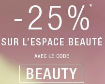 25% de réduction sur l'espace Beauté
