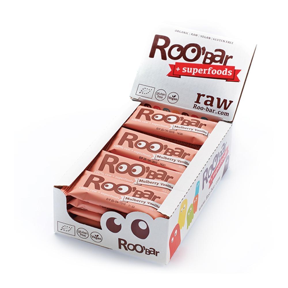 Lot de 20 barres protéinées Roo'Bar 100% natuelles - 30 g (mûrier et vanille)
