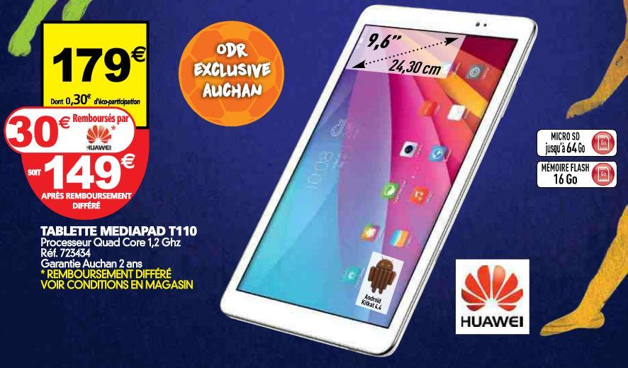 """Tablette 9.6"""" Huawei Mediapad T110 - Quad Core 1.2 GHz (via ODR de 30€)"""