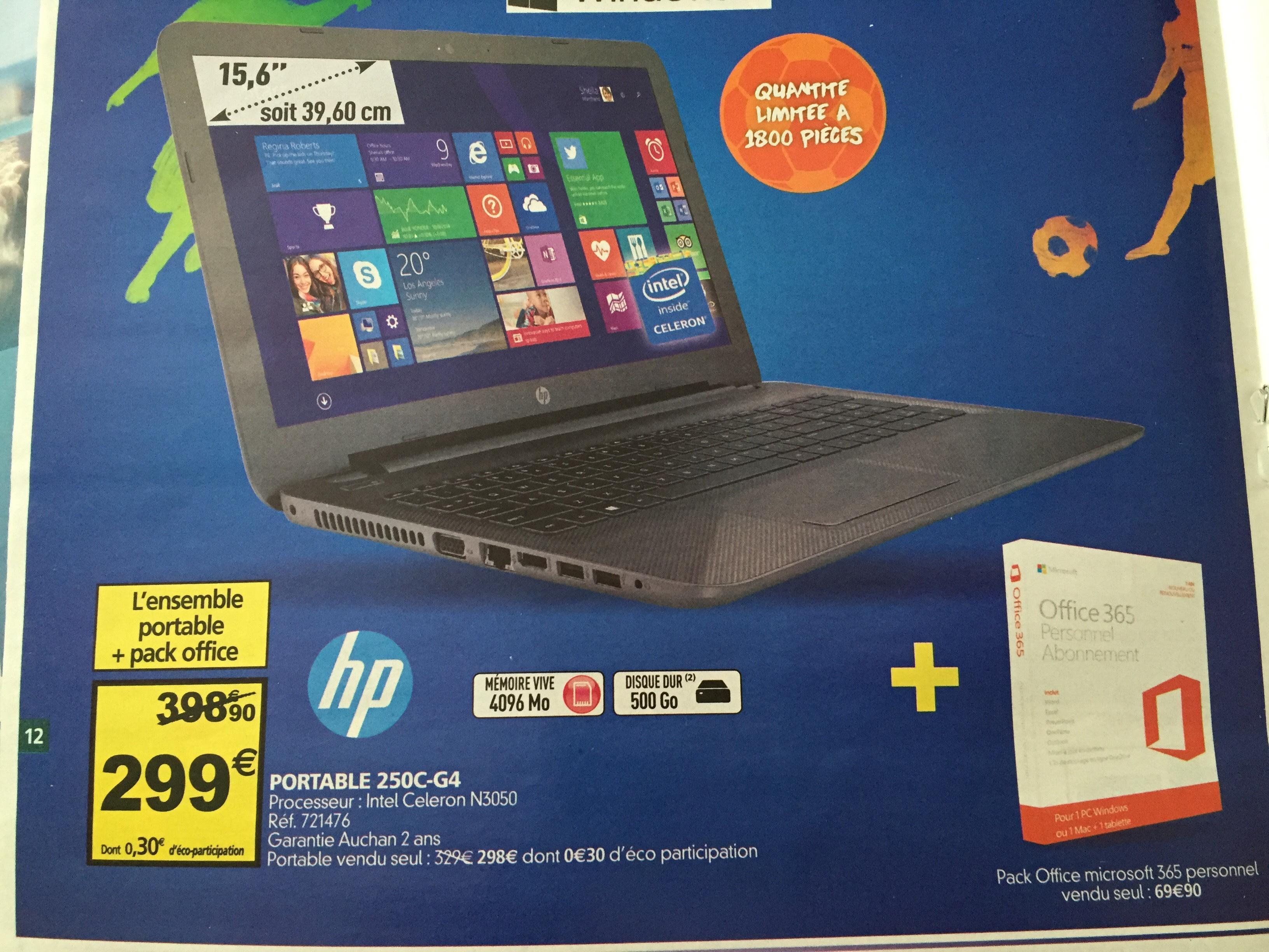 "PC Portable 15.6"" HP 250C-G4 (Intel Celeron N3050, HDD 500 Go) + Pack Office 365"
