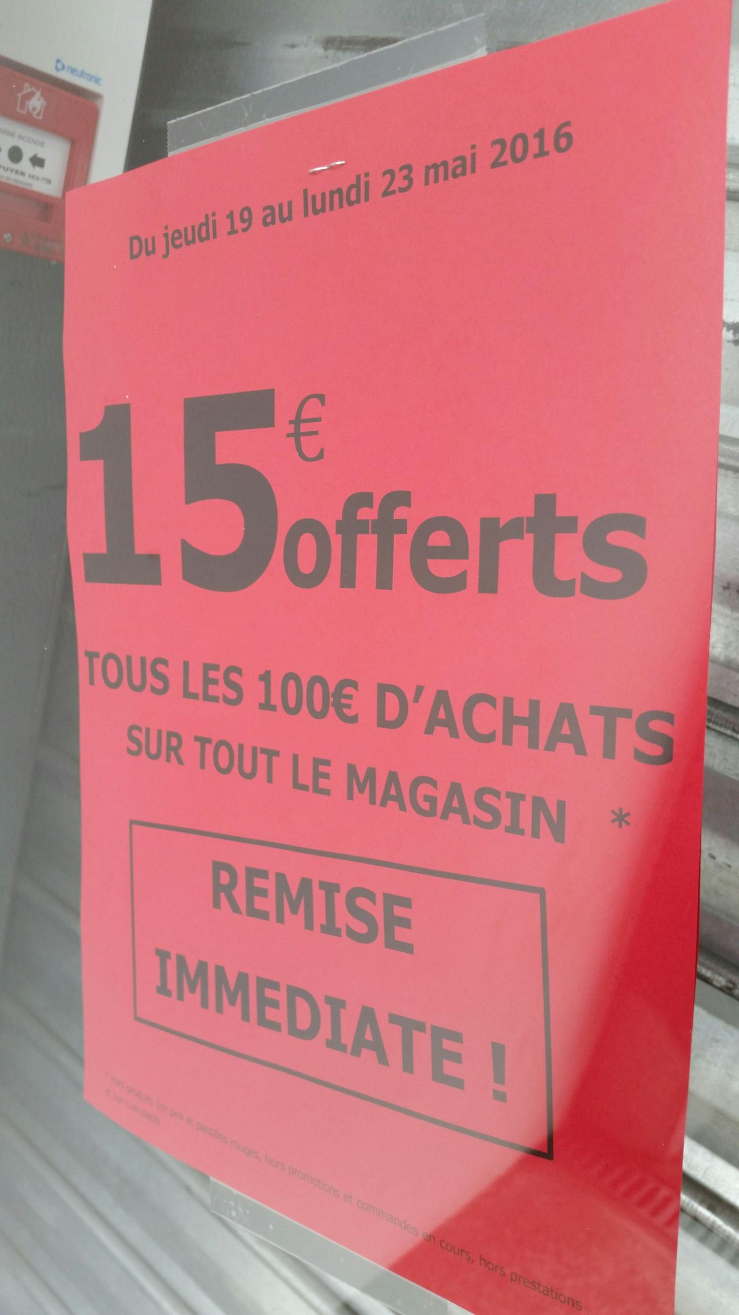 15€ offerts par tranche de 100€ d'achat sur tout