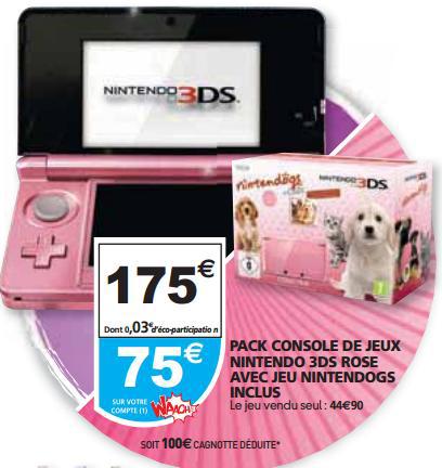 Console Nintendo 3DS Rose + Jeu Nintendogs (75€ crédités sur carte Waaoh)