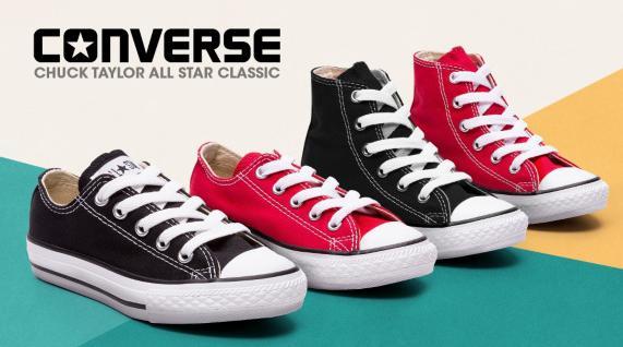 Sélection de chaussures Converse Enfant et Adulte en promotion - Ex : Chaussures basses pour Enfant - Noir ou Rouge