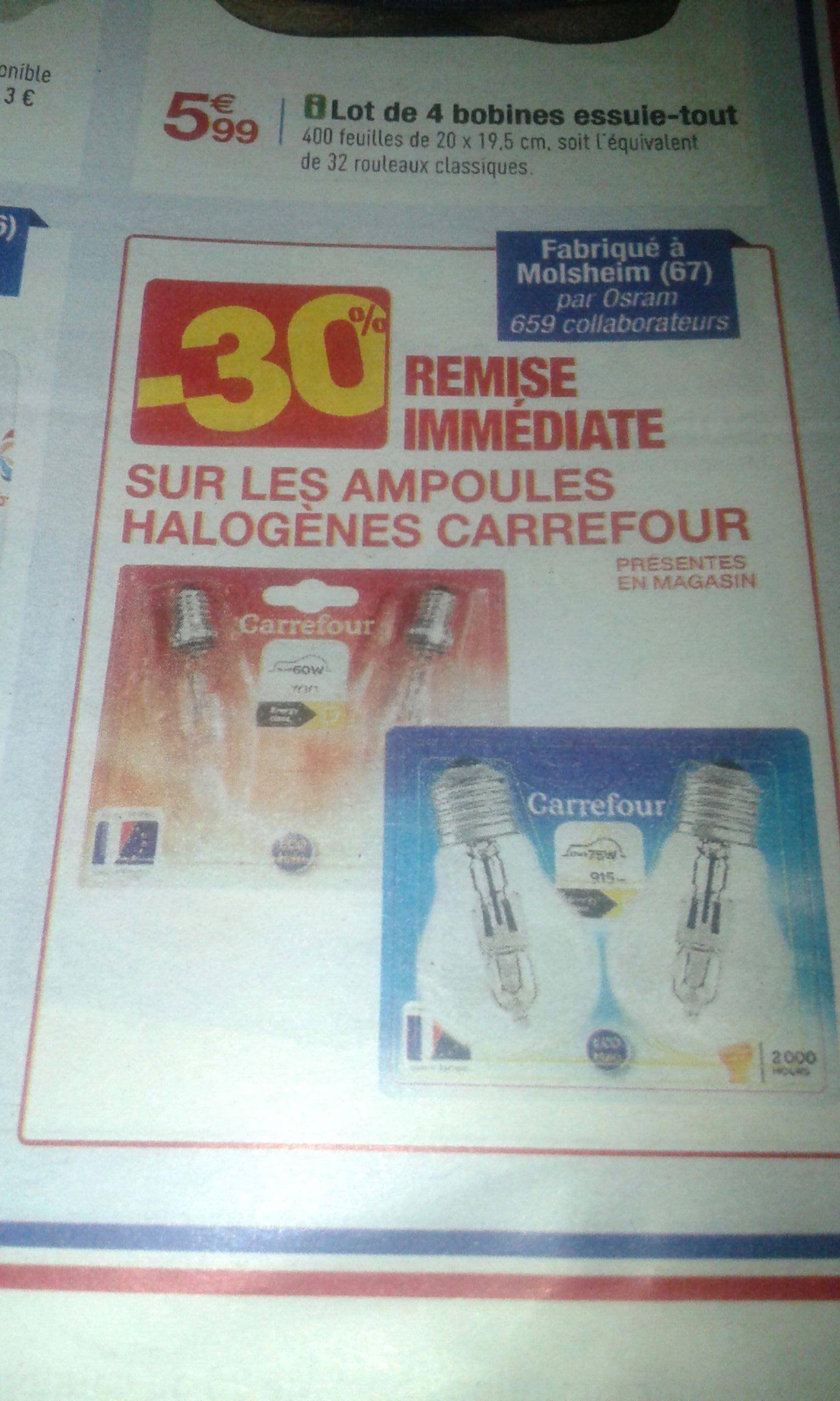 30% de réduction sur les ampoules halogènes de la marque Carrefour