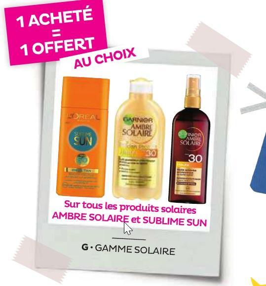Deux pour le prix d'un sur l'ensemble des produits Ambre Solaire et Sublime Sun