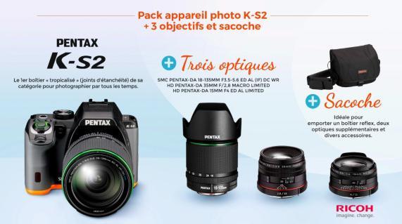 Pack appareil photo Pentax K-S2 + 3 objectifs + sacoche