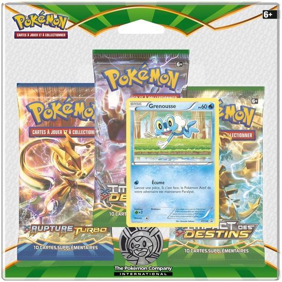 Pack de 3 Boosters Pokémon + Carte Grenousse + Jeton