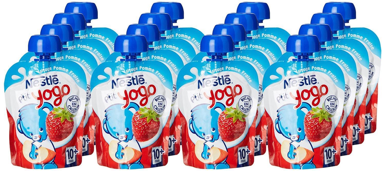 [Panier Plus] Lot de 16 gourdes pour bébés Nestlé Bébé P'tit Yogo - fraise (90 g)