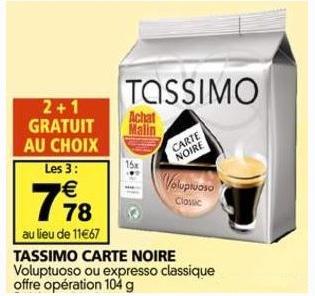 2 T-Discs de café Tassimo achetés = 1 gratuit