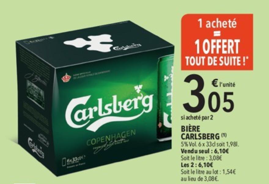 Lot de 2 packs de 6 Bières Carlsberg - 12 x 33cl