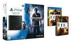 Pack Console Sony PS4 1To + Uncharted 4 : A Thief's End + Doom + Steelbook Doom
