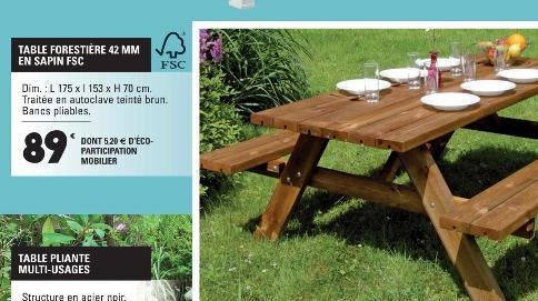 Table forestière 42mm en sapin