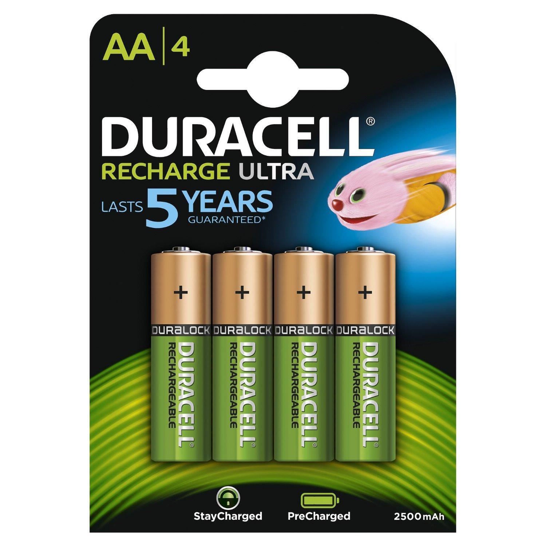 Pack de 4 Piles Rechargeable Duracell - AA, 2500 mAh