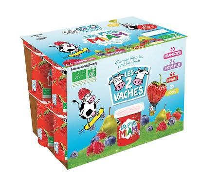 Pack de 12 yaourts bio Les 2 Vaches Les P'Tits Miam (via BDR de 0,90€ + 0,90€ sur la carte Waaoh)