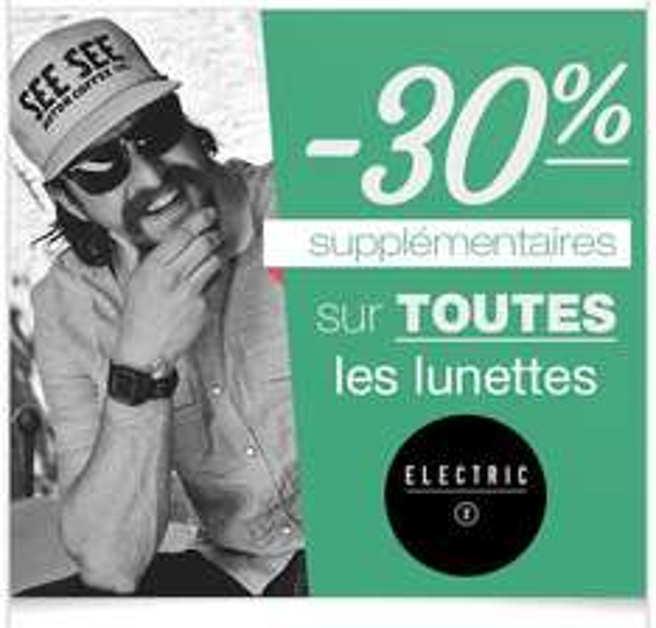 30% de réduction supplémentaire sur les lunettes de soleil Electric