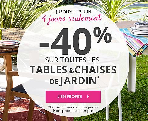 40% de réduction sur toutes les tables et chaises de jardin
