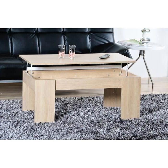 Table basse transformable Open (plateau relevable) - chêne