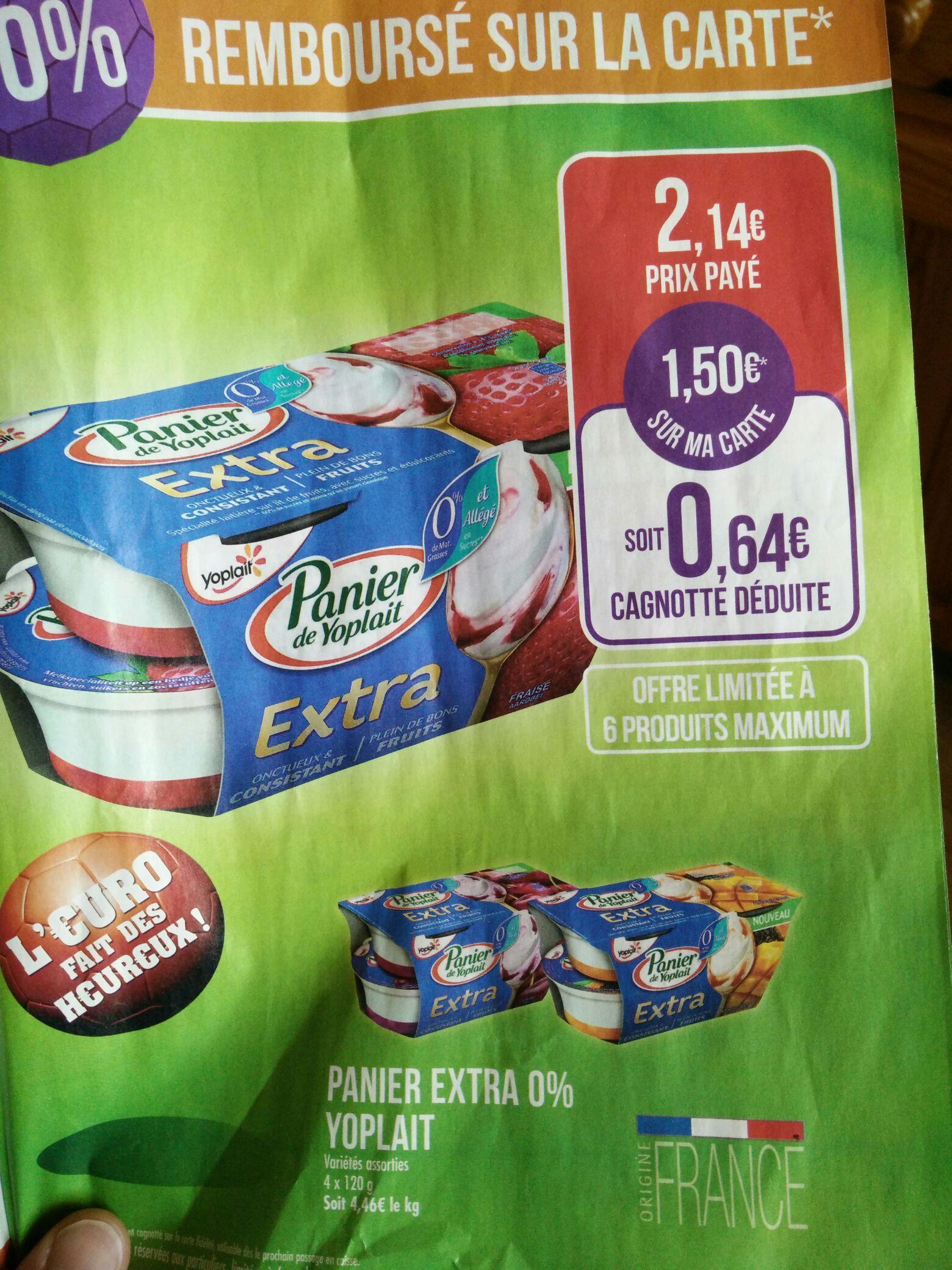 Panier de Yoplait Extra gratuit (via 1,5€ sur carte +  Shopmium) gratuit