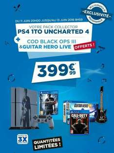 Pack Console PlayStation 4 Nathan Drake 1 to + Uncharted 4 + Black ops 3 + Guitar hero live