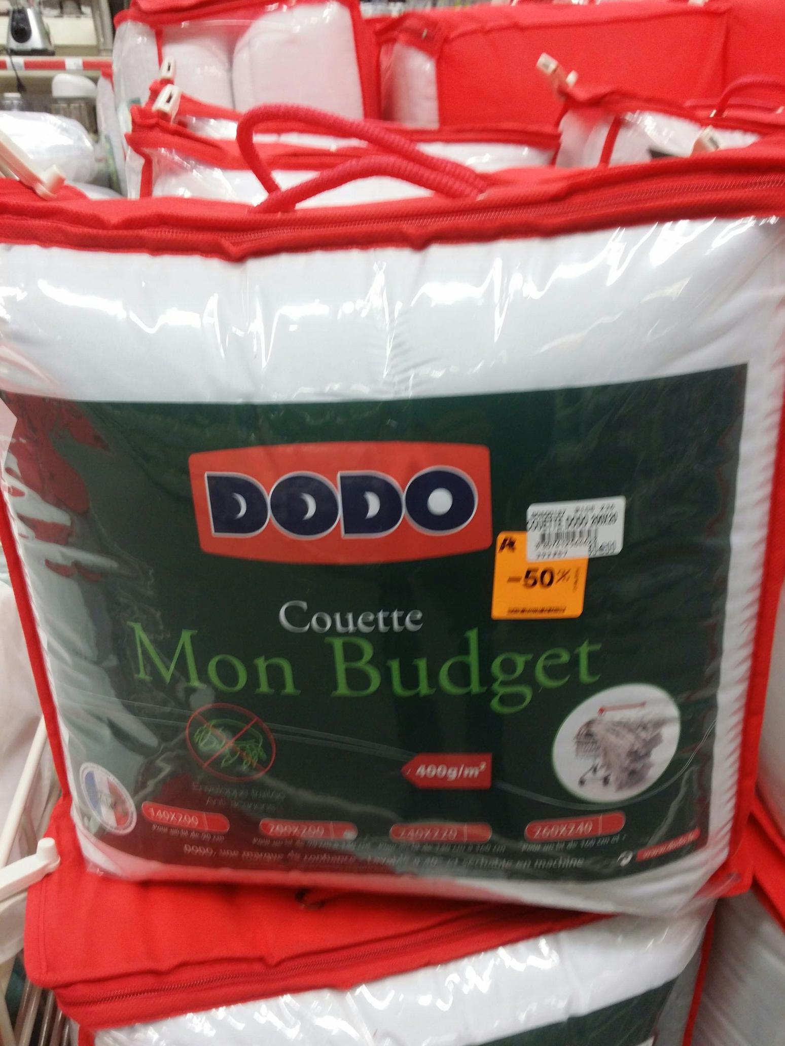 -50% sur le linge de maison (Draps, Couettes, etc) - Ex: Couette Dodo Mon Budget