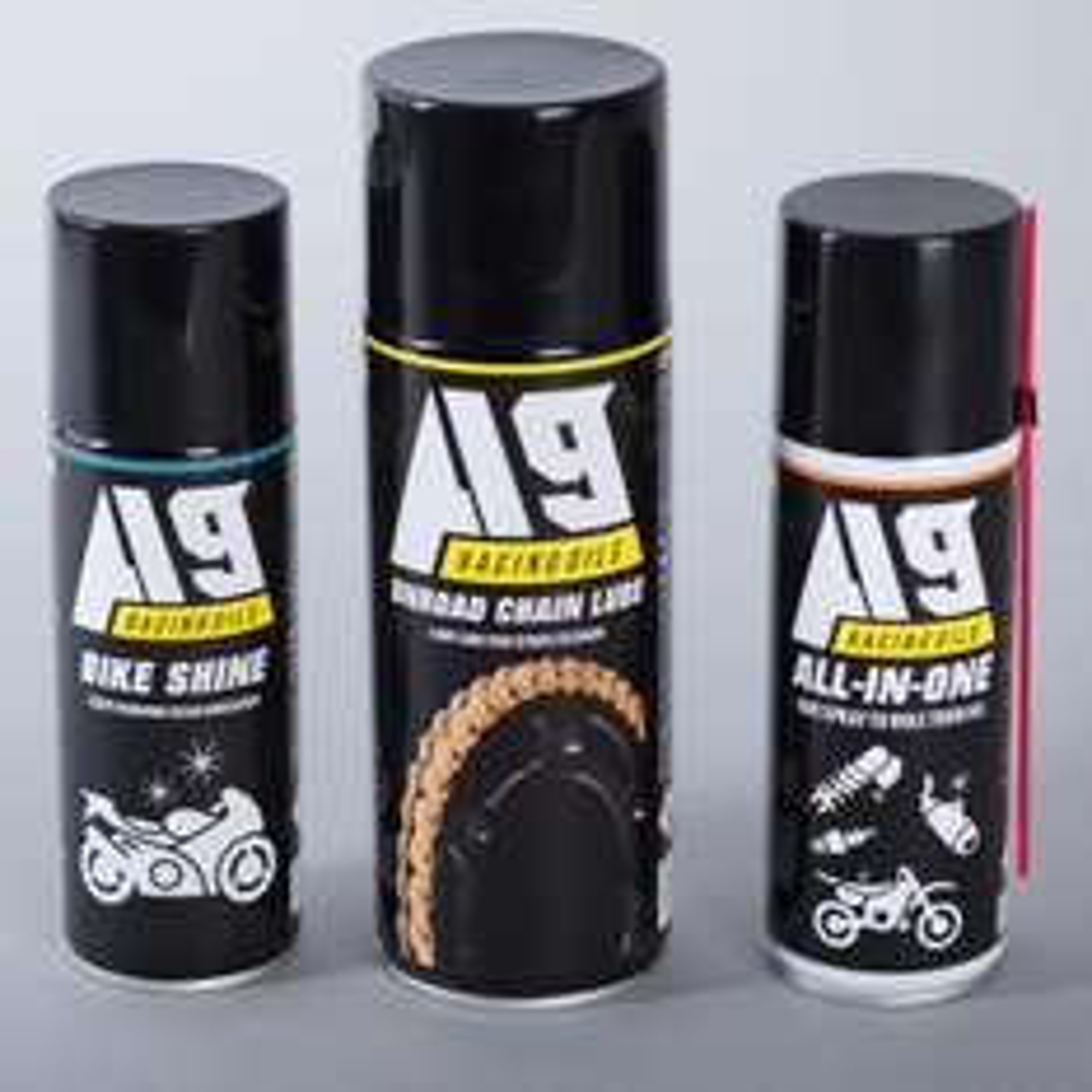 Pack de 3 sprays aérosol : Lubrifiant chaine à sec + Bike Shine + All-in-One