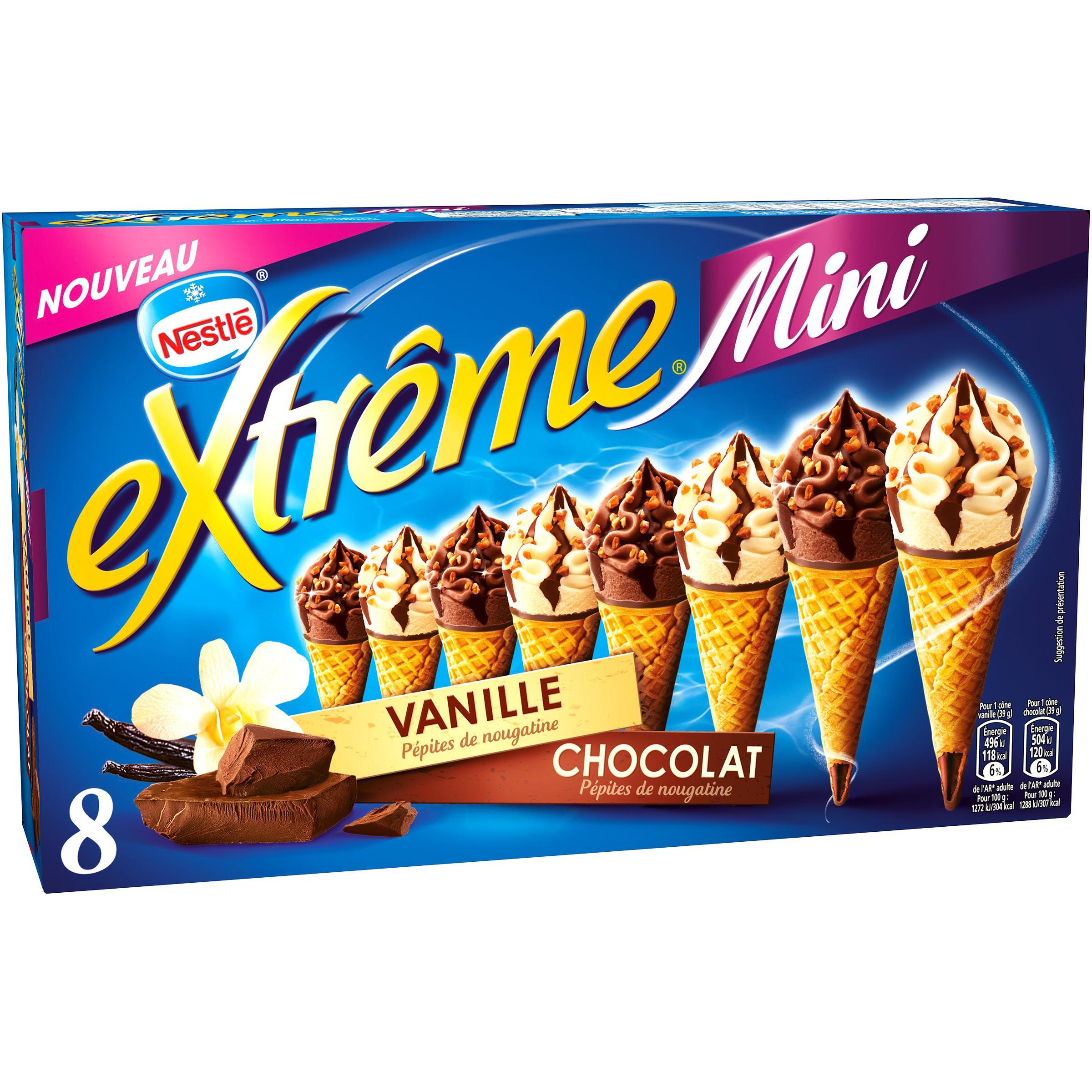 Boîte de 8 cônes Nestlé Extrême Mini (312 g) - différentes variétés (via BDR)