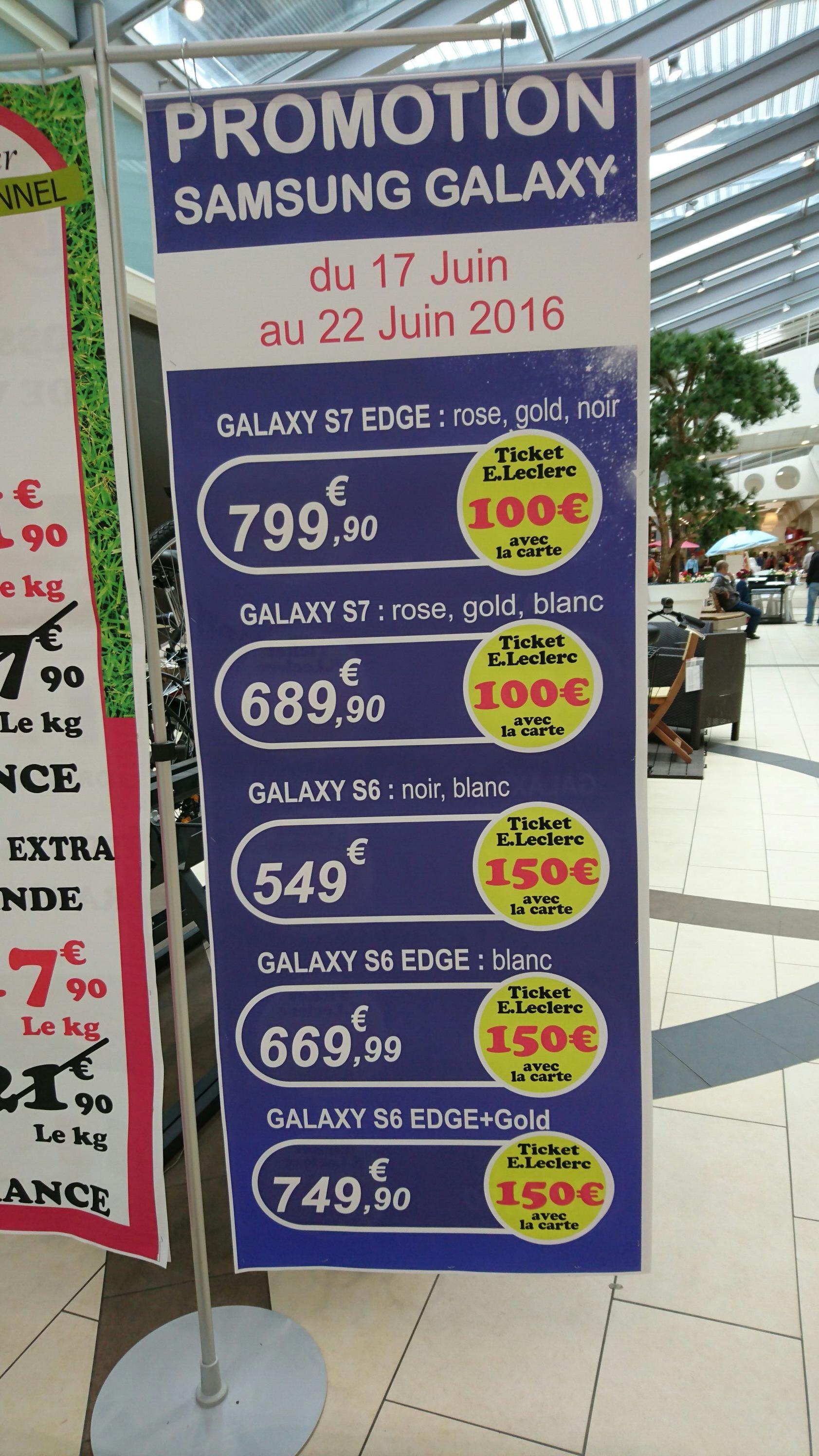 Remise Ticket Leclerc sur les smartphones Samsung Galaxy - Ex: Galaxy S6 Noir ou blanc (avec 150€ en ticket)