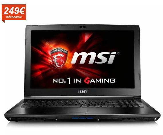 """PC Portable 15.6"""" GL62 6QD-025FR (1366*768 HD Anti-Glare, Skylake i7-6700HQ+HM170, 8Go RAM, 1To HDD + 128Go SSD - GeForce GTX 950M)"""