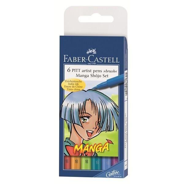 Lot de 6 feutres Faber Castell  Pitt artist pen Shôjo
