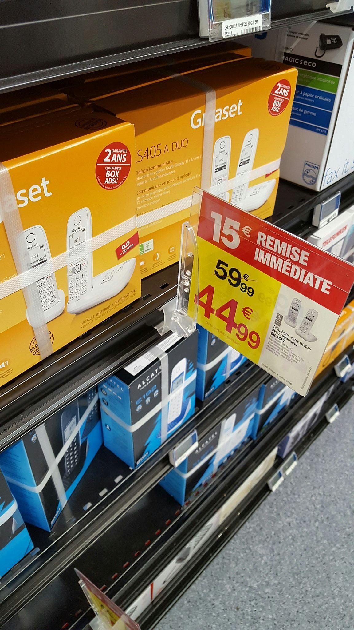 Téléphone Duo Gigaset AS405 blanc (via ODR 10€)