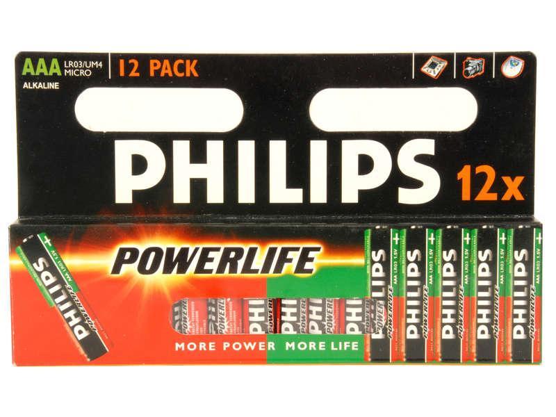 Lot de 12 piles Philips Powerlife - AAA/LR03
