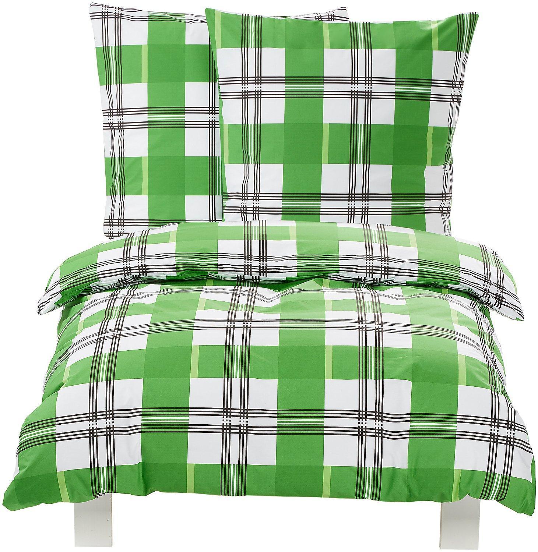 Parure de lit à carreaux verts - Housse de Couette 155 x 220 100% Coton + 2 Taies d'oreiller 80 x 80 cm