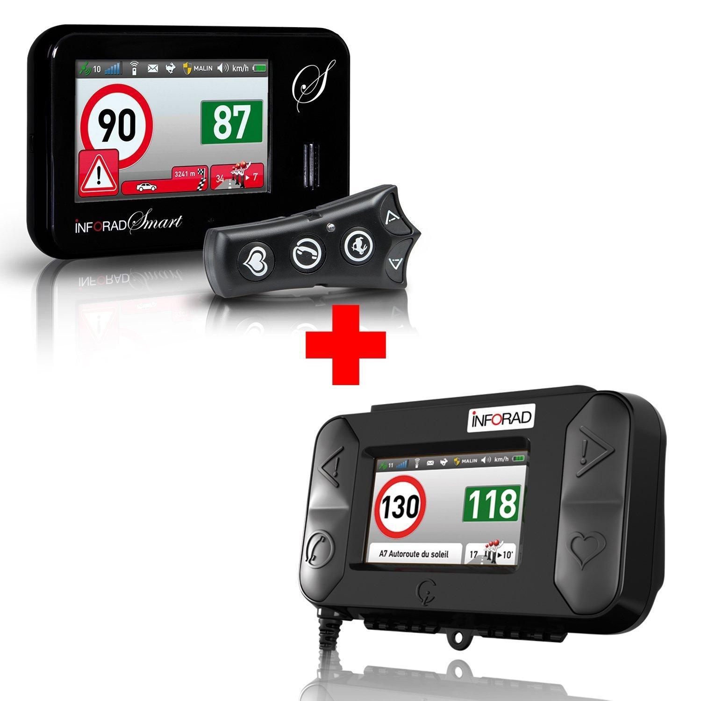 Pack Inforad Smart Communicant avec cartographie Europe + Kit moto avertisseur de zones dangereuses