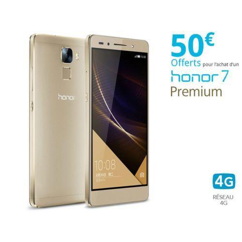 """Smartphone 5.2"""" Honor 7 Premium - 3 Go de RAM, 32 Go ROM (via ODR de 50€) - Or"""