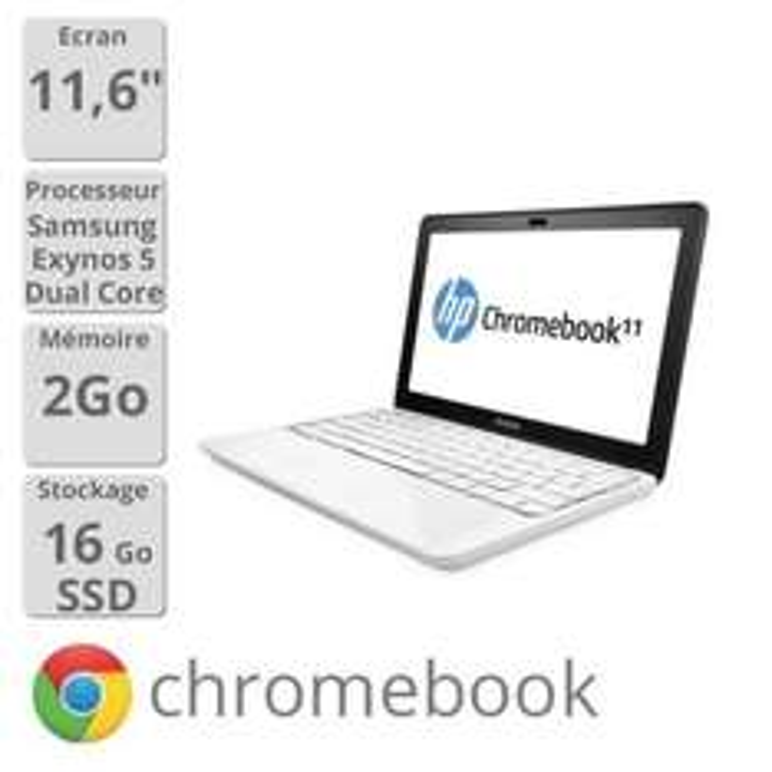 "PC Portable 11.6"" HP ChromeBook 11-1126fr - ARM Mali-T604, RAM 2 Go, SSD 16 Go"