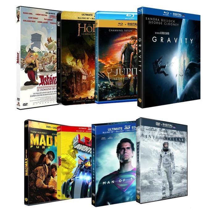 Lot de 8 films en Blu-ray ou DVD