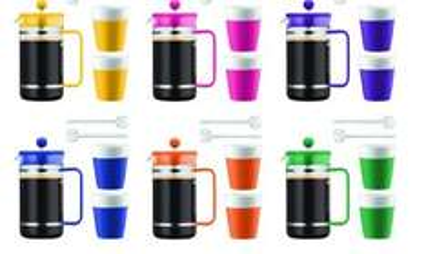 Coffret Bistro Bodum - Set cafetière à piston 1l + 2 tasses porcelaine 0,3l (6 coloris assortis)