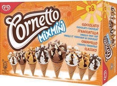 Boîte de 8 Glaces Cornetto Mix Mini (Variétés au choix) - 288g (Via BDR)
