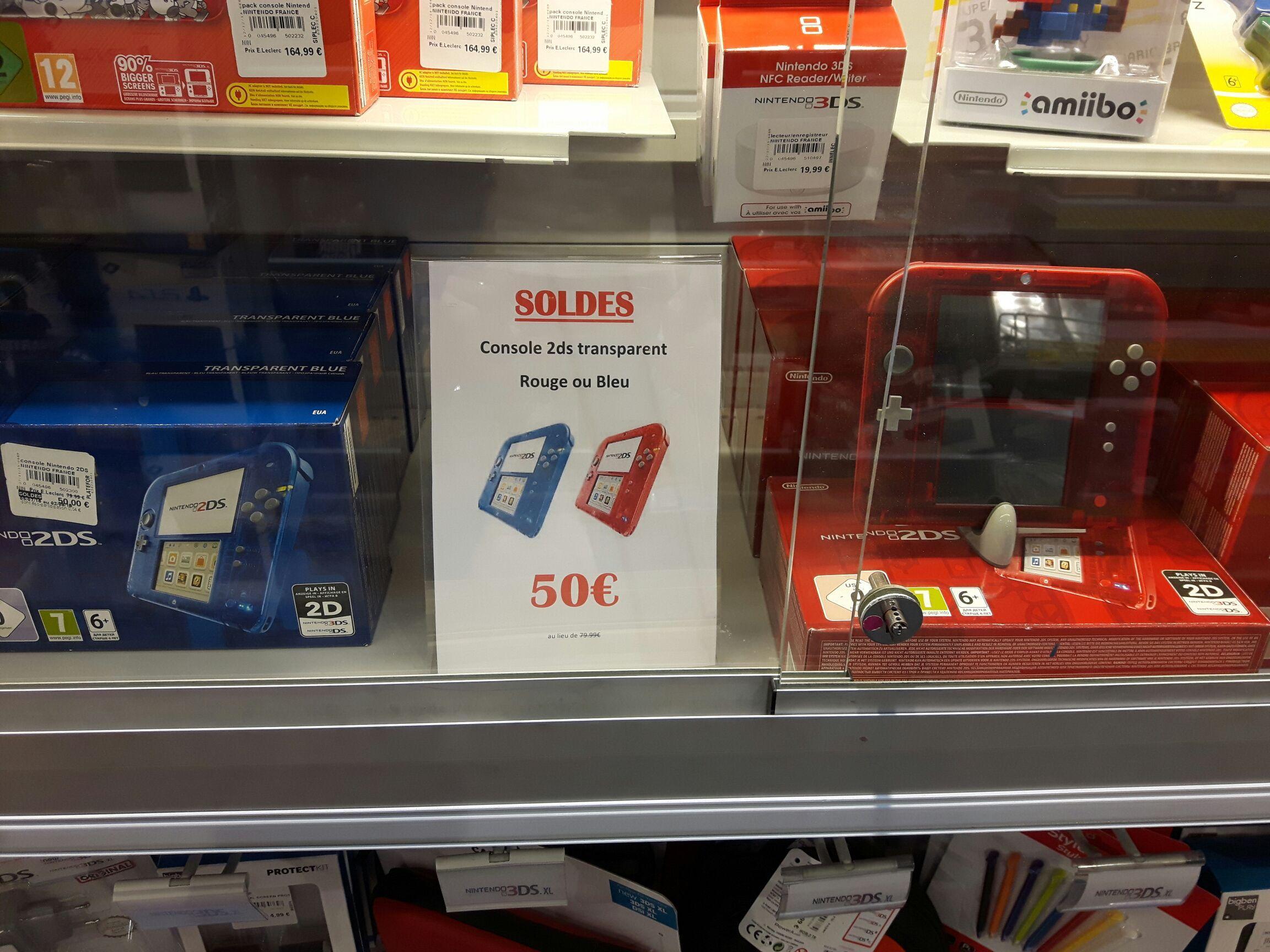 Console Nintendo 2DS  rouge ou bleu transparent