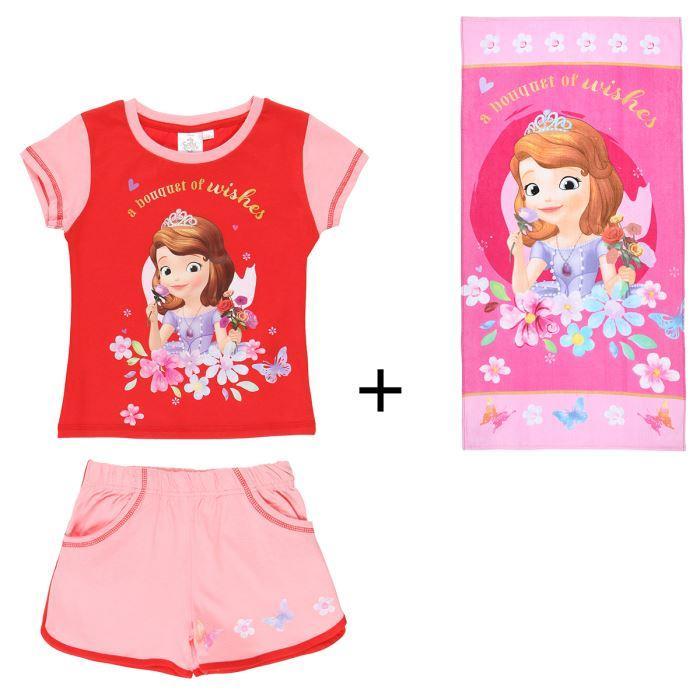 Pack tee-shirt + short + serviette de plage pour Enfant Princesse Sofia (du 2 au 6 ans)