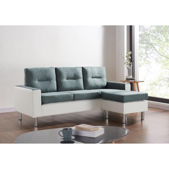 Canapé d'angle réversible en simili et tissu Elena - 3 places + pouf (Dimensions 193x74 / 130x70 cm)