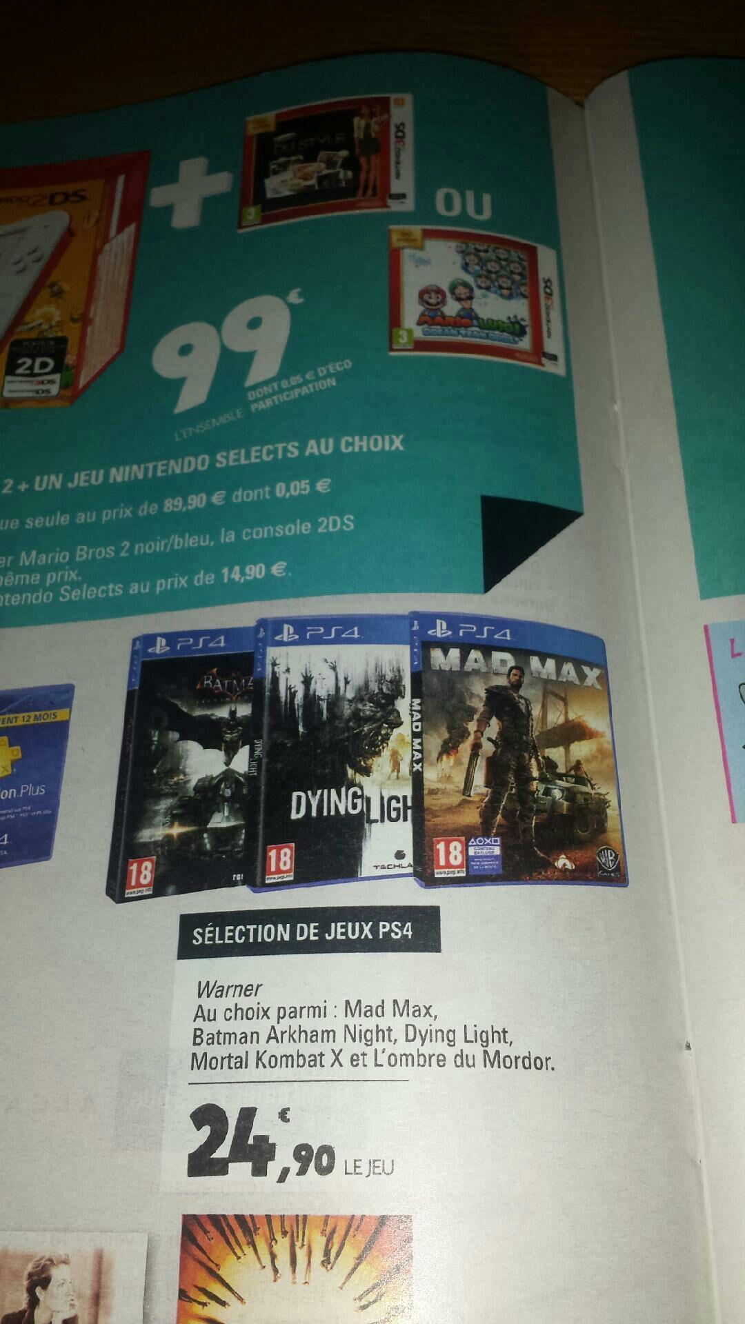 Sélection de jeux-vidéo PS4 (Mad Max, Dying Light, Mortal Kombat X...)